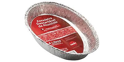 Assadeira oval descartável de alumínio
